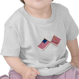 Crossed Betsy Ross Flag and First Navy Jack Tee Shirts