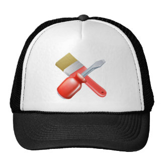 Crossed brush and screwdriver tools trucker hats