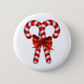 Crossed Candy Canes 6 Cm Round Badge