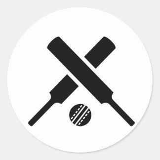 Crossed Cricket bats Round Sticker