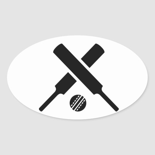 Crossed Cricket bats Oval Stickers