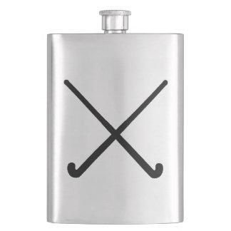 Crossed Field Hockey Sticks in Silhouette Hip Flask