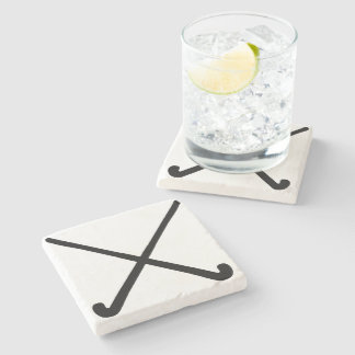 Crossed Field Hockey Sticks in Silhouette Stone Coaster