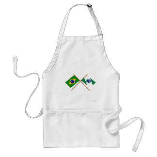 Crossed Flags of Brazil and Paraná Adult Apron