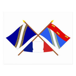 Crossed flags of Champagne-Ardenne and Ardennes Postcards