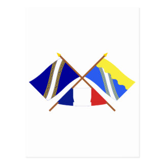 Crossed flags of Champagne-Ardenne and Aube Post Card