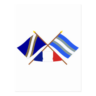 Crossed flags of Champagne-Ardenne and Marne Post Cards