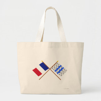 Crossed flags of France and Ille-et-Vilaine Tote Bags