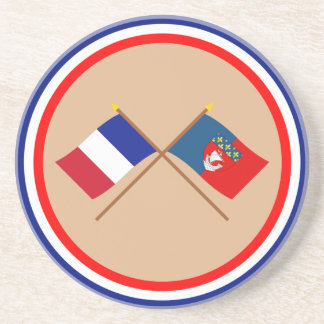 Crossed flags of France and Paris Coasters