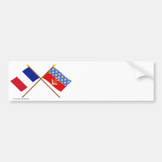 Crossed flags of France and Seine-Saint-Denis Bumper Sticker