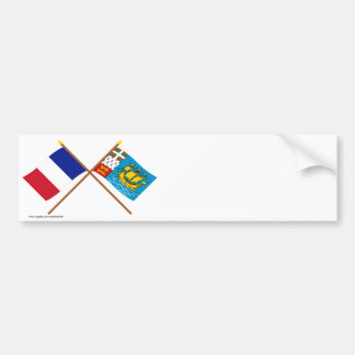 Crossed flags of France & Saint-Pierre et Miquelon Bumper Sticker