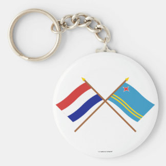 Crossed flags of Holland and Aruba Key Ring
