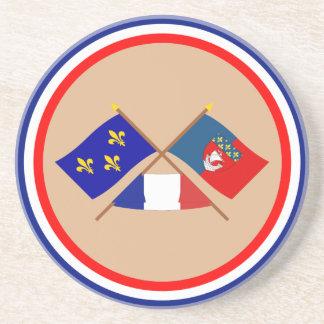 Crossed flags of Île-de-France and Paris Beverage Coaster
