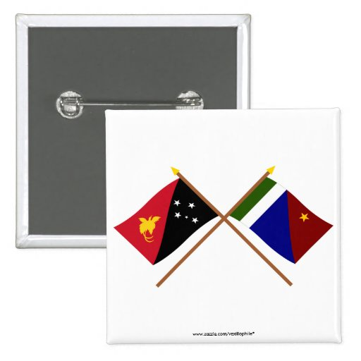 Crossed flags of PNG and Milne Bay Province 15 Cm Square Badge
