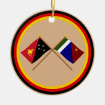 Crossed flags of PNG and Milne Bay Province Christmas Tree Ornament