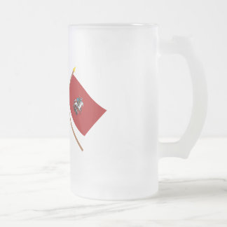 Crossed flags of Russia and Moscow Federal City Frosted Glass Beer Mug