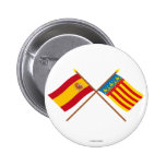Crossed flags of Spain and Valencia Pinback Buttons