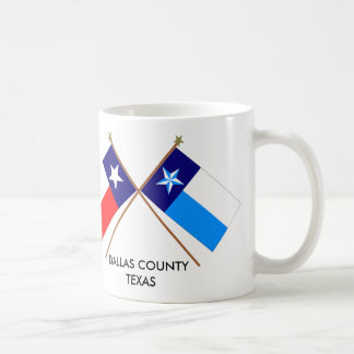Crossed Flags of Texas and Dallas County Basic White Mug