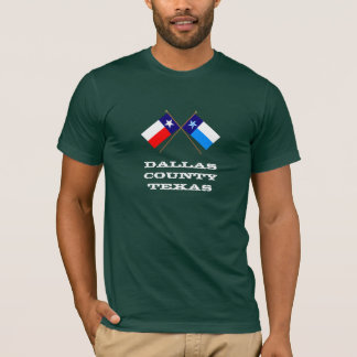 Crossed Flags of Texas and Dallas County T-Shirt