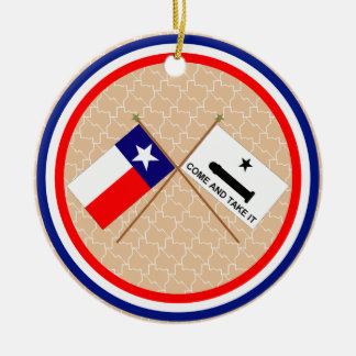 Crossed Flags of Texas and Gonzales County Ceramic Ornament