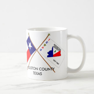 Crossed Flags of Texas and Houston County Coffee Mugs