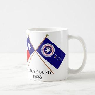 Crossed Flags of Texas and Liberty County Coffee Mug