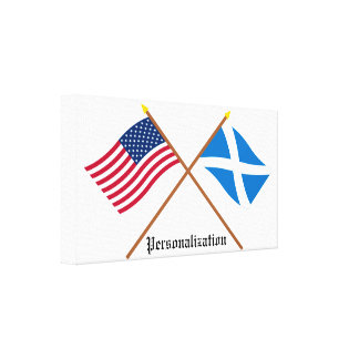 Crossed Flags of the USA and Scotland (Cross) Canvas Prints