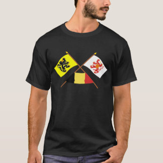 Crossed Flanders and Limbourg Flags with Belgium T-Shirt
