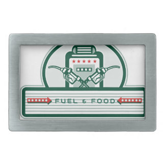 Crossed Fuel Nozzle Gas Pump Retro Rectangular Belt Buckles