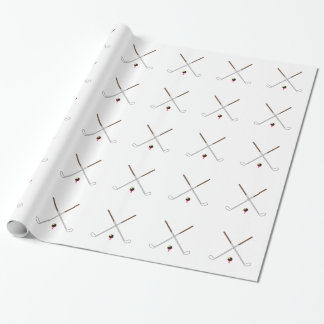 Crossed Golf Clubs Wrapping Paper