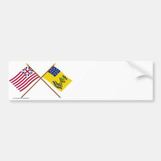 Crossed Grand Union and Bucks of America Flags Bumper Sticker