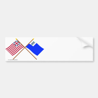 Crossed Grand Union and Connecticut Privateer Flag Bumper Sticker