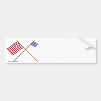 Crossed Grand Union and Forster Flags Bumper Sticker