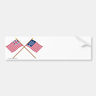 Crossed Grand Union and French Alliance Flags Bumper Stickers