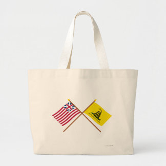 Crossed Grand Union and Gadsden Flags Canvas Bag