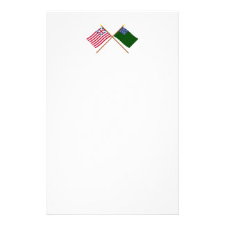 Crossed Grand Union and Green Mountain Boys Flags Stationery Design