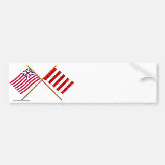 Crossed Grand Union and Liberty Tree Flags Bumper Stickers