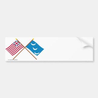 Crossed Grand Union and South Carolina Militia Fla Bumper Sticker