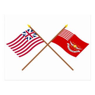 Crossed Grand Union and Tallmadge's Dragoons Flags Post Cards