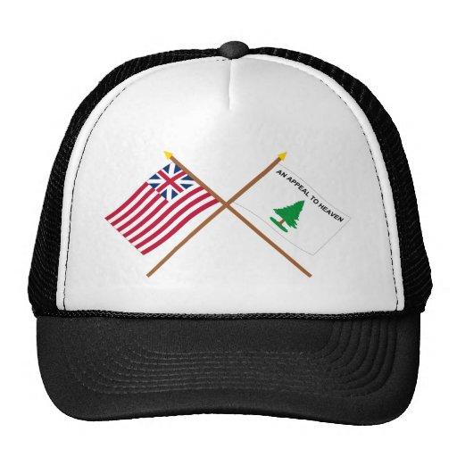 Crossed Grand Union and Washington's Cruisers Flag Mesh Hats