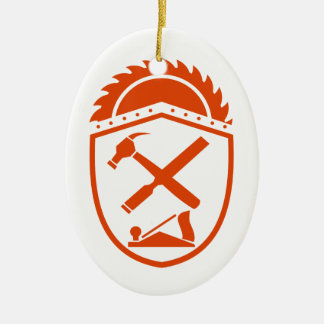 Crossed Hammer and Rasp Tools Crest Retro Ceramic Ornament