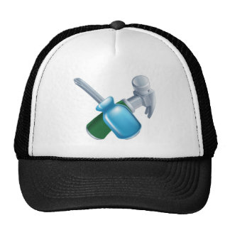 Crossed hammer and screwdriver tools mesh hat