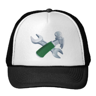 Crossed hammer and spanner tools trucker hat
