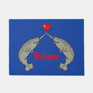 Crossed Horn Narwhal Welcome Doormat