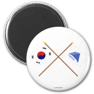 Crossed Korea and Taegu Flags Magnet