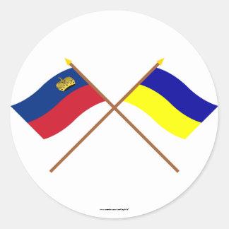 Crossed Liechtenstein and Triesenberg Flags Sticker