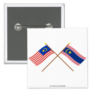 Crossed Malaysia and Kuala Lumpur flags Pins