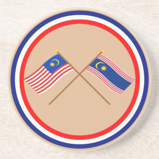 Crossed Malaysia and Kuala Lumpur flags Coaster