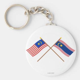 Crossed Malaysia and Kuala Lumpur flags Keychain