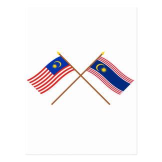 Crossed Malaysia and Kuala Lumpur flags Postcards